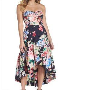Eliza J strapless hi low dress, floral